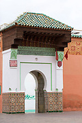 MARRAKESH, MOROCCO - 19TH APRIL 2016 - Doorway to the Zaouia / zawiya burial tomb shrine site of Sidi Abdullah al-Ghazwani, Marrakesh, Morocco.