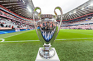 The UEFA Champions League trophy ahead of the semi final second leg between Bayern Munich and Atletico Madrid at Allianz Arena, Munich<br /> Picture by EXPA Pictures/Focus Images Ltd 07814482222<br /> 03/05/2016<br /> ***UK &amp; IRELAND ONLY***<br /> EXPA-FEI-160503-5000.jpg