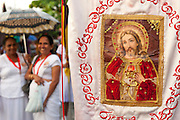 Ladies who are part of a larger group of people who lead the procession round the streets of Colombo 13..Final day of the St. Anthony's festival at Kochchikade, Colombo 13.