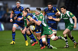 Elliott Stooke second row for London Irish tackles Worcester Warriors Scrum-Half Francois Hougaard  - Mandatory by-line: Joe Meredith/JMP - 26/03/2016 - RUGBY - Sixways Stadium - Worcester, England - Worcester Warriors v London Irish - Aviva Premiership