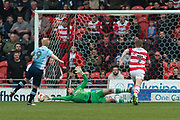 Doncaster Rovers Goalkeeper Marko Marosi (13) saves Blackpool Forward Mark Cullen (9) penalty kick during the EFL Sky Bet League 2 match between Doncaster Rovers and Blackpool at the Keepmoat Stadium, Doncaster, England on 17 April 2017. Photo by Craig Zadoroznyj.