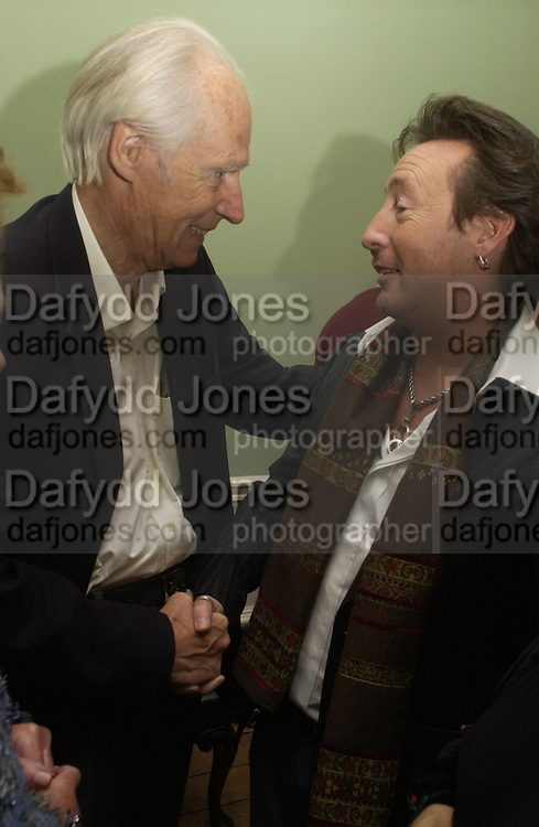 George Martin and Julian Lennon, Launch of 'John' by Cynthia Lennon at Six, Fitzroy Sq. London. 27 September 2005. ONE TIME USE ONLY - DO NOT ARCHIVE © Copyright Photograph by Dafydd Jones 66 Stockwell Park Rd. London SW9 0DA Tel 020 7733 0108 www.dafjones.com