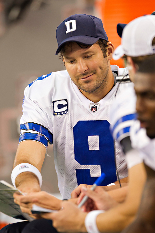 ARLINGTON,  TX - NOVEMBER 6:   Tony Romo #9 of the Dallas Cowboys on the sidelines during a game against the Seattle Seahawks at Cowboys Stadium on November 6, 2011 in Arlington, Texas.  The Cowboys defeated the Seahawks 23 to 13.  (Photo by Wesley Hitt/Getty Images) *** Local Caption *** Tony Romo