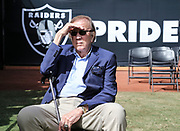 Sep 30, 2018; Oakland, CA, USA;  Former Raider head coach Tom Flores awaits Hispanic Heritage Month celebration during a game between the Oakland Raiders and the Cleveland Browns. The Raiders defeated the Browns 45-42 in overtime. Mandatory Credit: Spencer Allen-Image of Sport