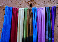 AIT BEN HADDOU, MOROCCO - CIRCA APRIL 2017: Detail of Moroccan  scarfs from a shop in Ait Ben Haddou.