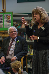 Edinburgh's Bailie Elaine Aitken opened Firrhill High School's 'The Anne Frank: A History For Today' exhibition  today. Baillie Aitken was joined by Heather Boyce from the Anne Frank Trust and second generation Holocaust survivors who spoke of their family members' memories of the war. The ceremony was attended by pupils from Firrhill High, local primary schools and retirement home residents from Old Farm Court and Caiystane Court. Stephan Brent, who was one of the 10,000 children sent to the UK as part of the Kindertransport, listened intently as second generation Holocaust survivor Judy Russell spoke of her father's experiences of the war. 29 April 2014 (c) GER HARLEY | StockPix.eu
