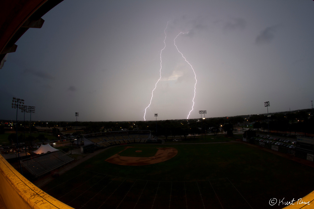 Lightning that paused the game at the Citrus Bowl in Orlando, FL on July 17, 2011. Orlando City defeated the Rochester Rhinos 2-1. (Kurt Rivers/KnightNews.com)..
