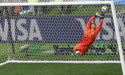 MOSCOW, June 17, 2018  Mexico's goalkeeper Guillermo Ochoa defends during a group F match between Germany and Mexico at the 2018 FIFA World Cup in Moscow, Russia, June 17, 2018. (Credit Image: © Wang Yuguo/Xinhua via ZUMA Wire)