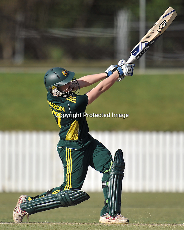 Jessica Cameron follows through after nailing a big 6 straight down the ground for the Southern Stars during action in Game 6 (ODI) of the Rose Bowl Trophy Cricket played between Australia and New Zealand at Alan Border Field in Brisbane (Australia) ~ Monday 14May 2011 ~ Photo : Steven Hight (AURA Images) / Photosport