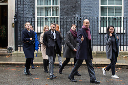 London, UK. 3rd December, 2018. A group including People's Vote spokesman Chuka Umunna MP, Caroline Lucas MP, Justine Greening MP, co-founder of Our Future Our Choice Lara Spirit and editor of the Independent Christian Broughton leave Downing Street after delivering a Final Say petition signed by over a million people to be presented to Prime Minister Theresa May following her return from the G20 summit in Buenos Aires.