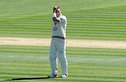 Surrey's Kevin Pietersen looks on - Photo mandatory by-line: Harry Trump/JMP - Mobile: 07966 386802 - 22/04/15 - SPORT - CRICKET - LVCC County Championship - Division 2 - Day 4 - Glamorgan v Surrey - Swalec Stadium, Cardiff, Wales.