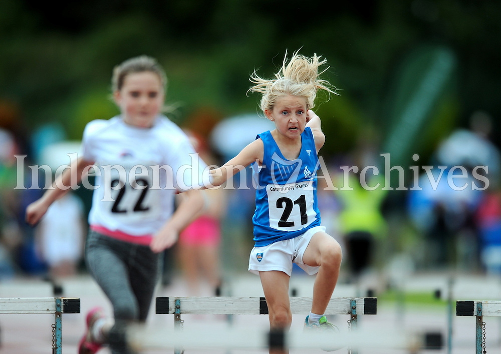 20 Aug 2016:  Molly Kenneally, 21, from Waterford, during Girls U10 Hurdles heat.  2016 Community Games National Festival 2016.  Athlone Institute of Technology, Athlone, Co. Westmeath. Picture: Caroline Quinn