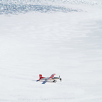 Ski plane on The Tasman Glacier (Haupapa) which is the largest glacier in New Zealand, and one of several large glaciers which flow south and east towards the Mackenzie Basin from the Southern Alps in New Zealand's South Island.