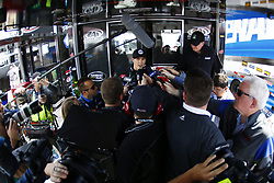 April 27, 2018 - Talladega, Alabama, United States of America - Trevor Bayne (6) meets with the media before practice for the GEICO 500 at Talladega Superspeedway in Talladega, Alabama. (Credit Image: © Chris Owens Asp Inc/ASP via ZUMA Wire)