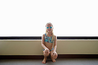 Little Girl in Swim Suit and Goggles
