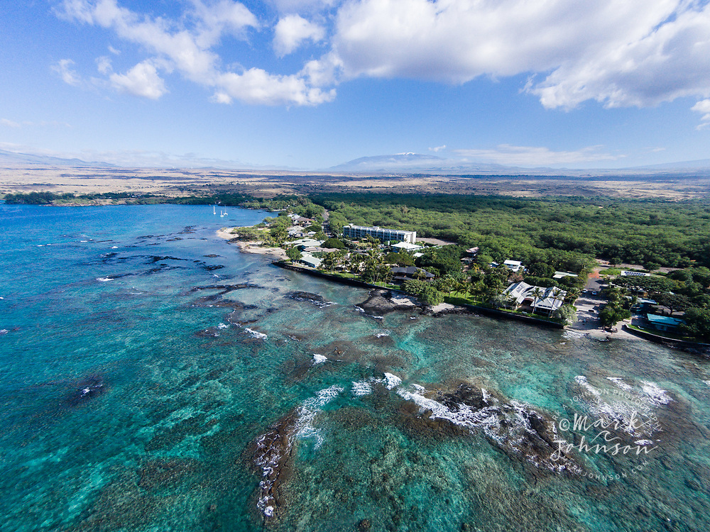 Aerial photograph of Puako Bay, Kona coast, Big Island, Hawaii