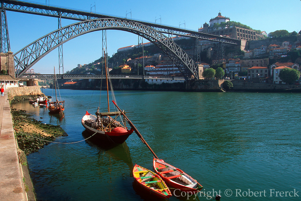 PORTUGAL, DOURO, PORTO city skyline above 'rabelos' barges