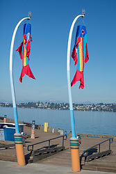 North America, United States, Washington, Kirkland, fish flags and dock on Lake Washington