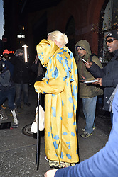 Rita Ora makes her way to the Marc Jacobs fashion show in a bright yellow & Blue dress at New York Fashion week 2019. 13 Feb 2019 Pictured: Rita Ora. Photo credit: Neil Warner/MEGA TheMegaAgency.com +1 888 505 6342