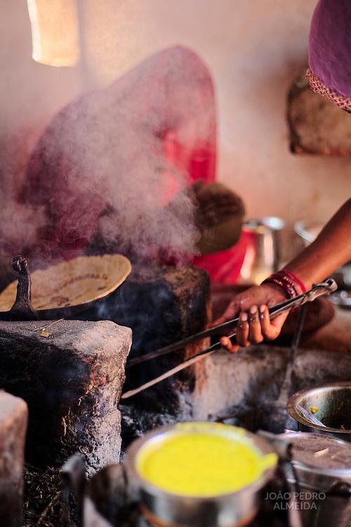Inside a kitchen at the Bishnoi region