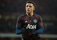 Football - 2018 / 2019 FA Cup - Fourth Round: Arsenal vs. Manchester United <br /> <br /> Alexis Sanchez (Manchester United) warms up on his eturn to the Emirates Stadium<br /> <br /> COLORSPORT/DANIEL BEARHAM