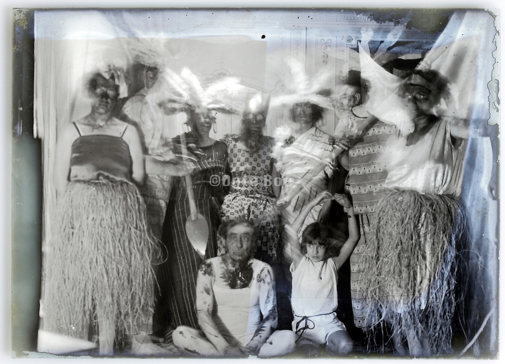 masked ball family and friends party vintage 1900s