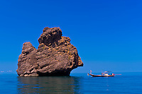 Fishing boats, Angthong National Marine Park (42 limestone islands) near Koh Samui (island), Gulf of Thailand, Thailand