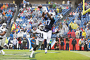 NASHVILLE, TN - NOVEMBER 29:  Dorial Green-Beckham #17 of the Tennessee Titans catches a touchdown pass over Neiko Thorpe #31 of the Oakland Raiders at Nissan Stadium on November 29, 2015 in Nashville, Tennessee.  (Photo by Wesley Hitt/Getty Images) *** Local Caption *** Dorial Green-Beckham