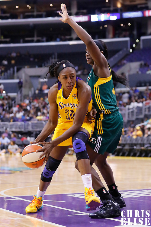15 August 2014: Los Angeles Sparks forward Nneka Ogwumike (30) is seen during the Los Angeles Sparks 77-65 victory over the Seattle Storm, at the Staples Center, Los Angeles, California, USA.