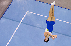 Rok Klavora of Slovenia competes in the Floor Exercise during Final day 1 of Artistic Gymnastics World Cup Ljubljana, on April 27, 2013, in Hala Tivoli, Ljubljana, Slovenia. (Photo By Vid Ponikvar / Sportida.com)