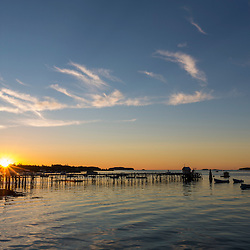 Sunrise over the harbor in Jonesport, Maine.