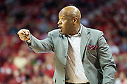 FAYETTEVILLE, AR - NOVEMBER 13:  Head Coach Mike Anderson of the Arkansas Razorbacks yells instructions to his team during a game against the Southern University Jaguars at Bud Walton Arena on November 13, 2015 in Fayetteville, Arkansas.  (Photo by Wesley Hitt/Getty Images) *** Local Caption *** Mike Anderson
