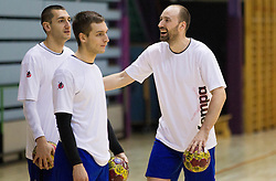 Dragan Gajic, Gasper Marguc and Vid Kavticnik during the Training Camp before IHF Men's Handball World Championship Spain 2013 on January 9, 2013 in Zrece, Slovenia. (Photo By Vid Ponikvar / Sportida.com)