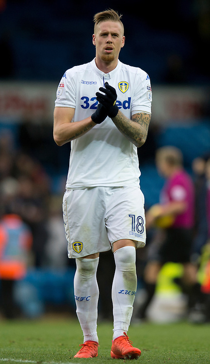 Pontus Jansson of Leeds United applauds his team's support following the Sky Bet Championship match at Elland Road, Leeds<br /> Picture by Russell Hart/Focus Images Ltd 07791 688 420<br /> 20/11/2016
