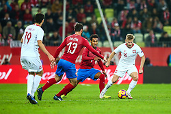 November 15, 2018 - Gdansk, Poland - Jakub Blaszczykowski and Marcin Kaminski of Poland vies Theodor Gebre Selassie and Martin Dolezal of Czech Republic during the international friendly soccer match between Poland and Czech Republic at Energa Stadium in Gdansk, Poland on 15 November 2018. (Credit Image: © Foto Olimpik/NurPhoto via ZUMA Press)