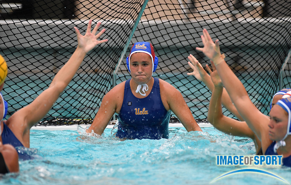 UCLA Bruins goalie Carlee Kapana (1) defends the goal against the Pacific Tigers during an NCAA college women's water polo quarterfinal game in Los Angeles, Friday, May 11, 2018. UCLA defeated Pacific, 8-4.