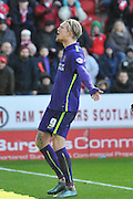 Simon Makienok of Charlton Athletic  heads the ball into the goal to score and go 3-1 up during the Sky Bet Championship match between Rotherham United and Charlton Athletic at the New York Stadium, Rotherham, England on 30 January 2016. Photo by Ian Lyall.