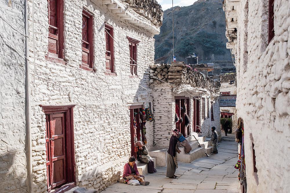 Stone white houses at Marpha (Nepal)