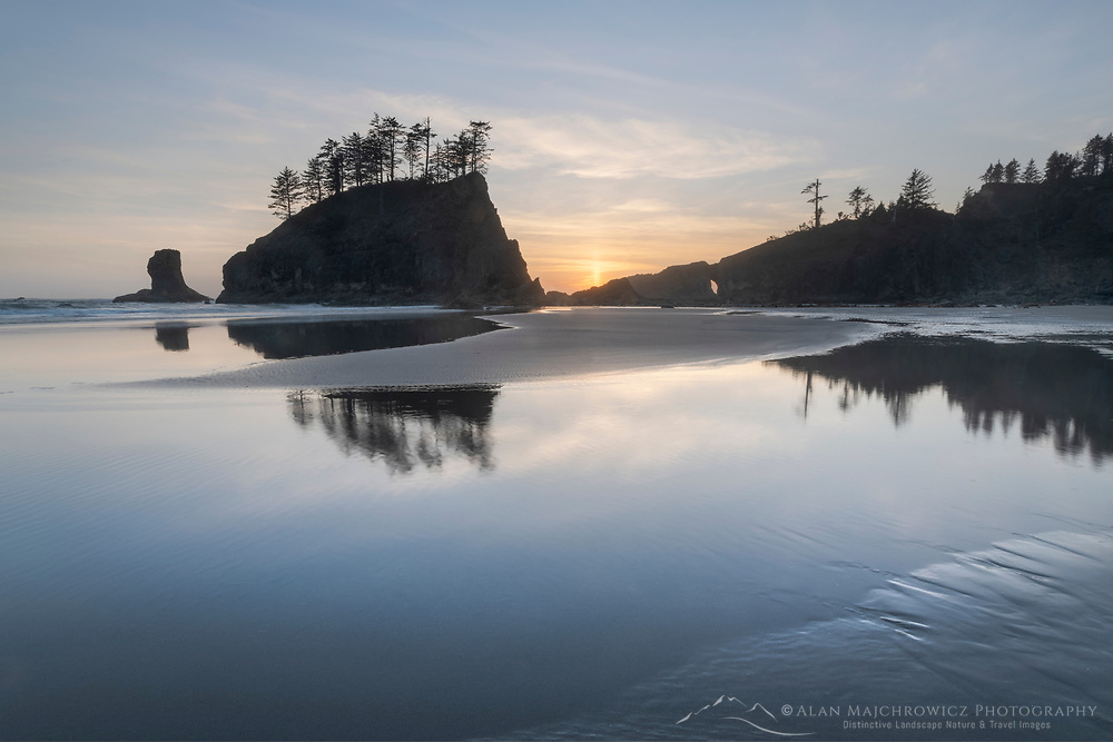 Sunset at Second Beach during low tide, Olympic National Park Washington