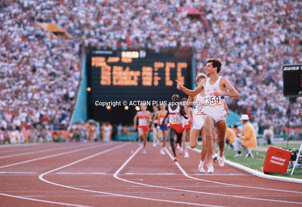 SEB COE wins the Men's 1500m Final, LA Olympics 1984 Photo:Leo Mason/Action Plus/ Photosport<br /><br /><br /><br />Athletics<br />Track Event<br />DIstance<br />WInner<br />1984<br />man<br />track and field<br />olympic games