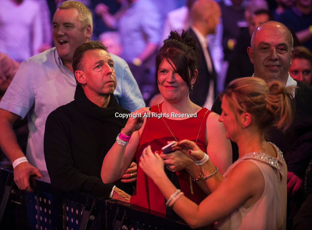 03.01.2015.  London, England.  William Hill PDC World Darts Championship.  Semi Final Round.  Gary Anderson's wife Rachel watches Gary's win over Michael van Gerwen (1) [NED].  Gary Anderson won the match 6-3.