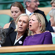 LONDON, ENGLAND - JULY 15: Martina Navratilova and Virginia Wade watching the Men's Doubles Final on Center Court during the Wimbledon Lawn Tennis Championships at the All England Lawn Tennis and Croquet Club at Wimbledon on July 15, 2017 in London, England. (Photo by Tim Clayton/Corbis via Getty Images)