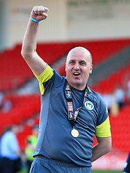 Free to use courtesy of Sky Bet - Wigan Athletic manager Paul Cook celebrates after winning the Sky Bet League One title - Mandatory by-line: Matt McNulty/JMP - 05/05/2018 - FOOTBALL - The Keepmoat Stadium - Doncaster, England - Doncaster Rovers v Wigan Athletic - Sky Bet League One