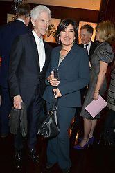 RICHARD BUCKLEY and CHRISTIANE AMANPOUR at a dinner hosted by AA Gill & Nicola Formby in support of the Borne charity held at Rivea at the Bulgari Hotel, Knightsbridge, London on 3rd February 2015.