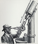 Joseph Norman Lockyer (1836-1920) observing the solar spectrum through a multiple-prism spectroscope fitted in a refracting telescope. One of the discoverers of the gas Helium which he named.