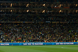 FIFA against racism during the 2010 FIFA World Cup South Africa Quarter Finals football match between Uruguay and Ghana on July 02, 2010 at Soccer City Stadium in Sowetto, suburb of Johannesburg. Uruguay defeated Ghana after penalty shots. (Photo by Vid Ponikvar / Sportida)