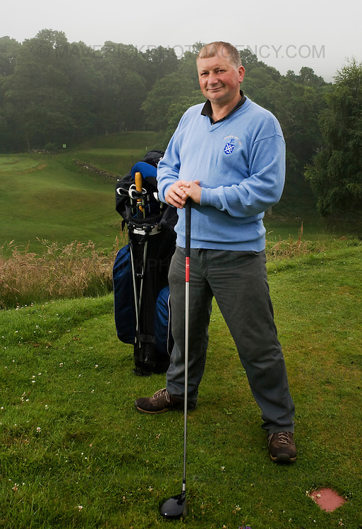 """Golfer Roddy Thomson on the Strathtay Golf course in Perthshire. Scotland...Strathtay Golf Club is like many small rural golf curses in Scotland which employ an """"honesty box"""" system where golfers deposit money in a  box rather than go to the expense of hiring a full time person to collect green fees...Picture Michael Hughes/Maverick."""