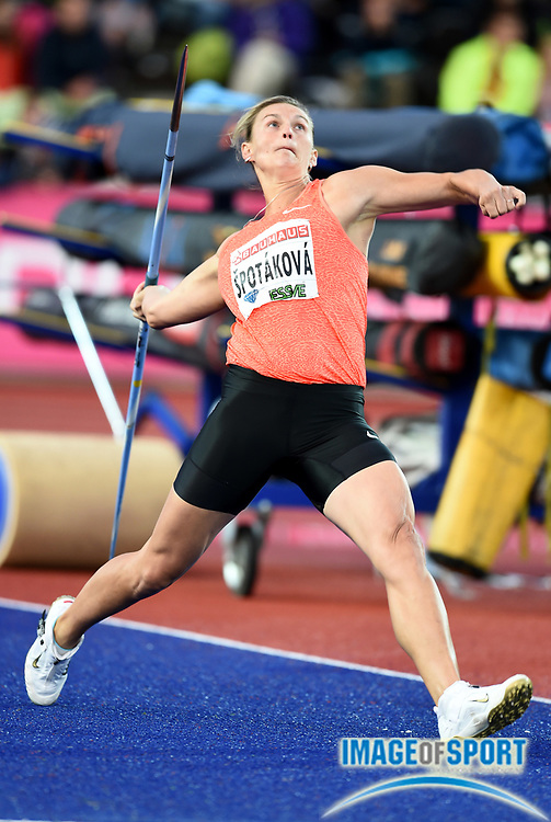 Jul 30, 2015; Stockholm, SWEDEN; Barbora Spotakova (CZE) wins the womens javelin at 215-5 (65.66m) in the Stockholm Bauhaus Athletics  2015 at Stockholm Olympic Stadium. Photo by Jiro Mochizuki.