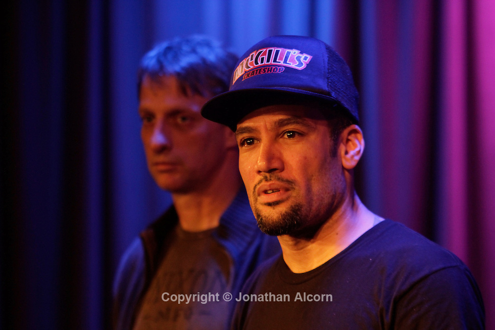 Ben Harper with Tony Hawk at The Grammy Museum in in Los Angeles, California, U.S. December 7, 2012 ©Jonathan Alcorn/JTA.
