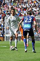 Real Madrid´s Cristiano Ronaldo and Eibar´s Javier Lara during 2014-15 La Liga match between Real Madrid and Eibar at Santiago Bernabeu stadium in Madrid, Spain. April 11, 2015. (ALTERPHOTOS/Luis Fernandez)
